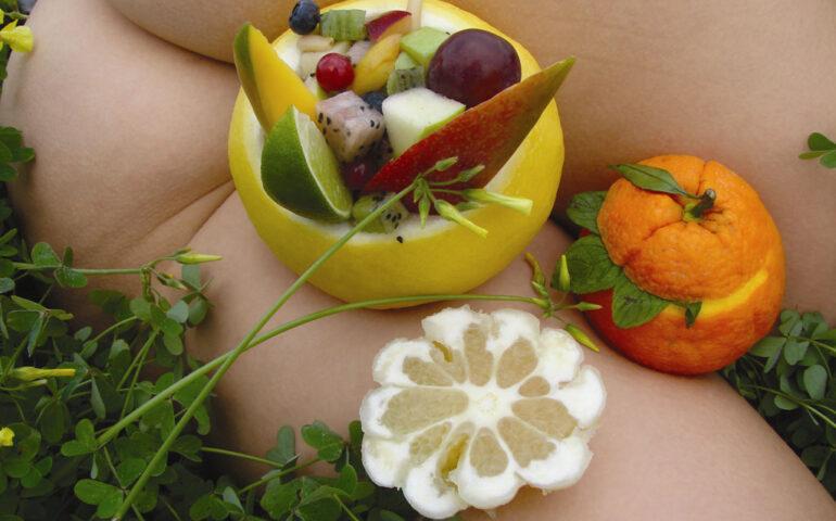Sexy fruits on naked baody