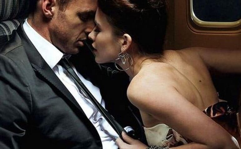 Man and woman in an airplane