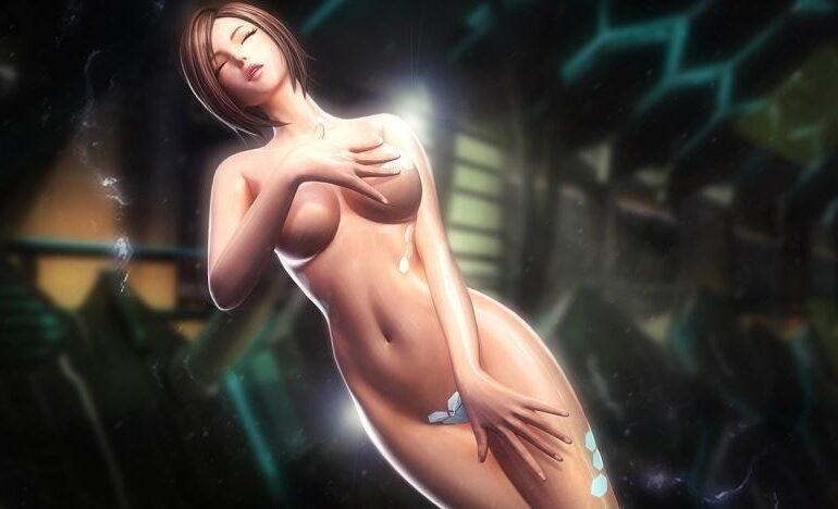 Naakte vrouw in een computer game