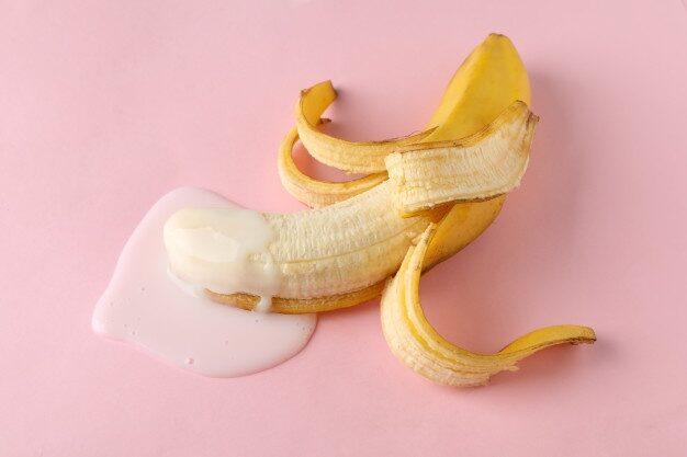 Banana with milk on table