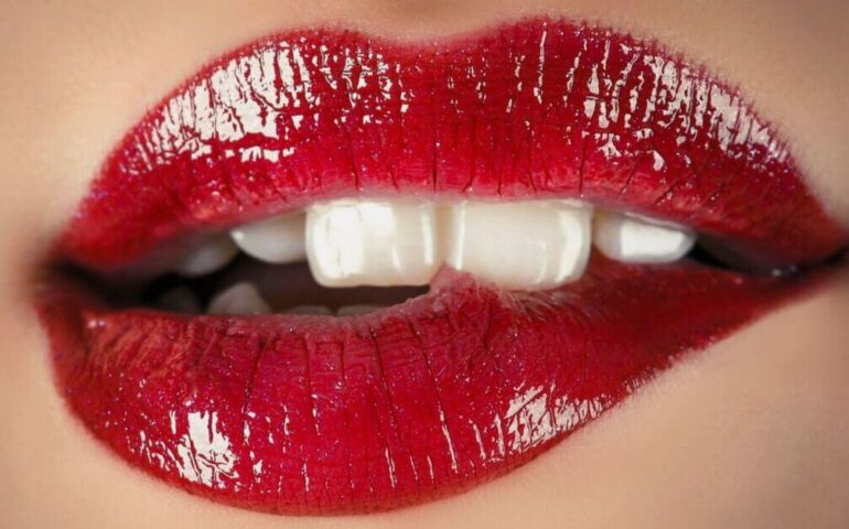 Sexy lips with red lipstick
