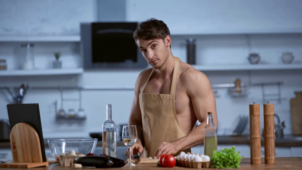 Sexy man in the kitchen