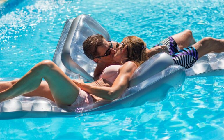 Man and woman in a pool